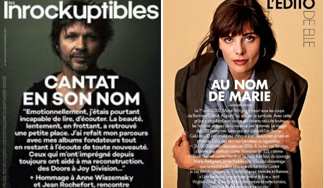 The covers of French music magazine (r) Les Inrockuptibles and French Elle, which respectively feature rock star Bertrand Cantat and his actress girlfriend Marie Trintignant who he murdered in 2013