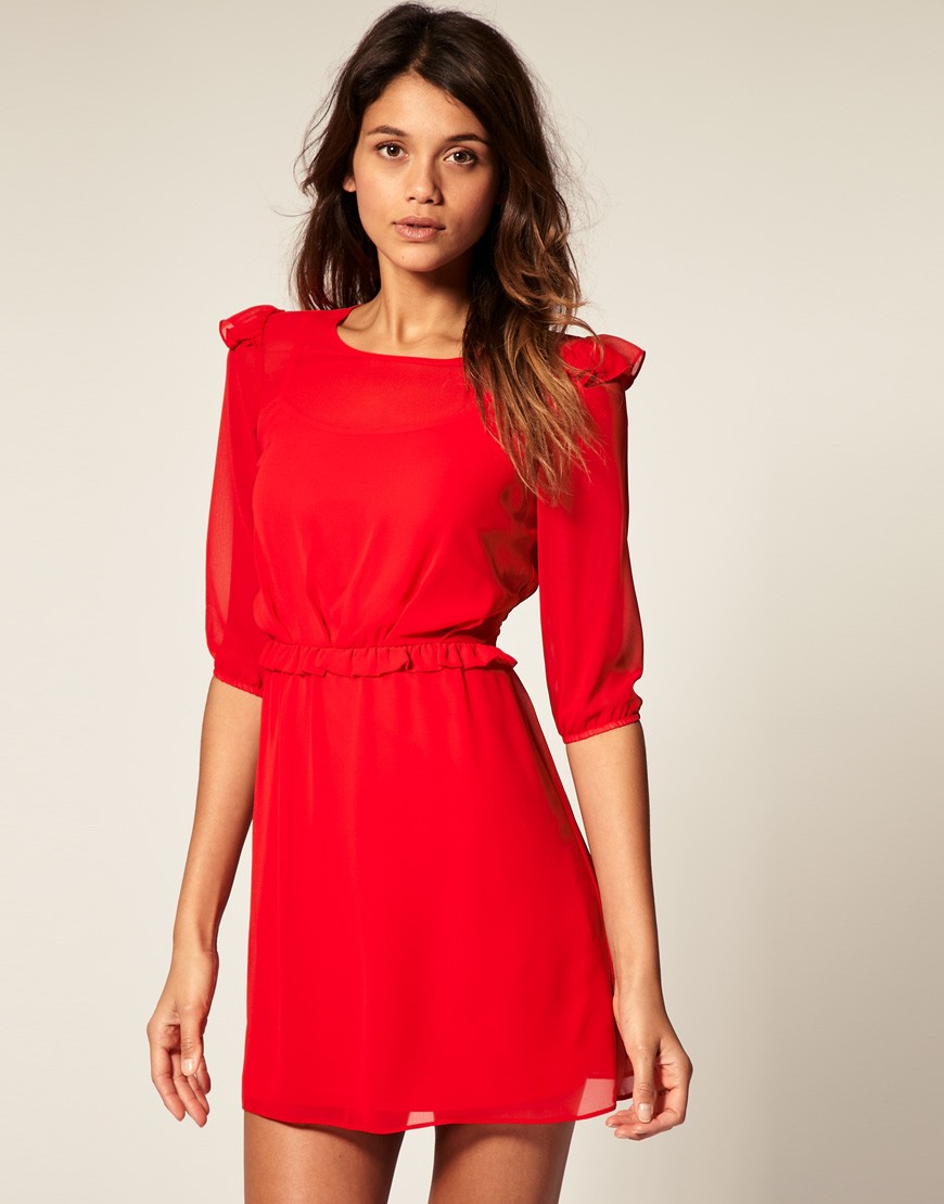 Asos Mini Dress With Frill Detail 163 35 00