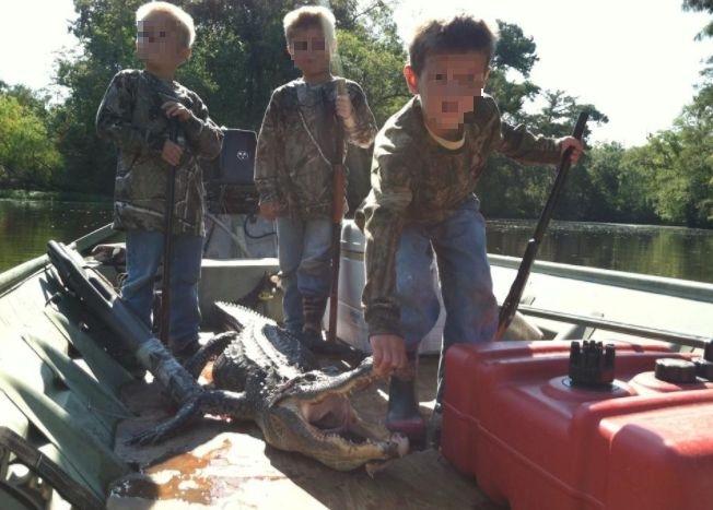 Kids dead alligator hunting