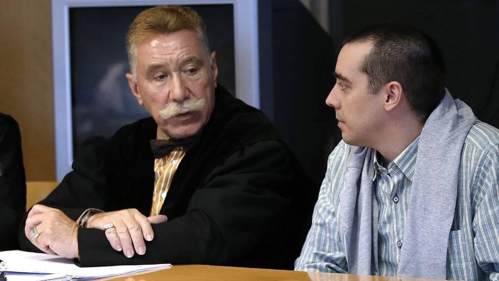 The Butcher of Majadahonda, Bruno Hernandez Vega, (r) along with his lawyer Marcos García Montes at his Madrid trial