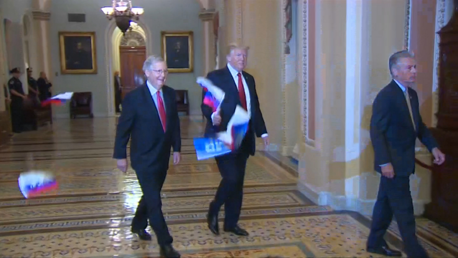 russian-flags-thrown-at-president-trump-ahead-of-capitol-hill-meeting-with-senators