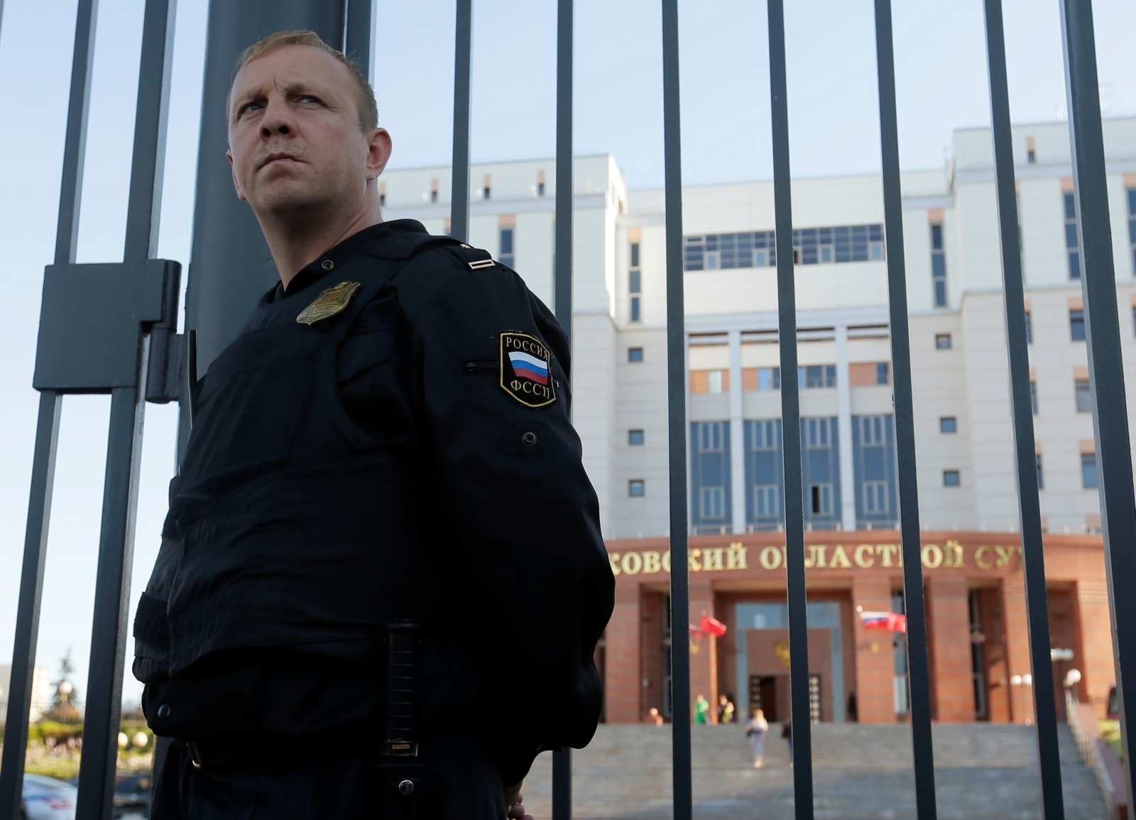 A bailiff guards outside the Moscow regional court building