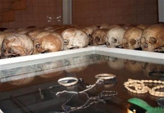 Skulls of the remains of Rwanda genocide victims are seen inside a catholic church in Nyamata 20km from Kigali