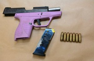 This lilac handgun was allegedly in the possession of Mirella Ponce, according to the Fresno Police Department