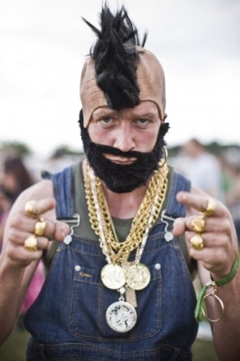 Man dressed as Mr T, T in the Park, 2009, UK.