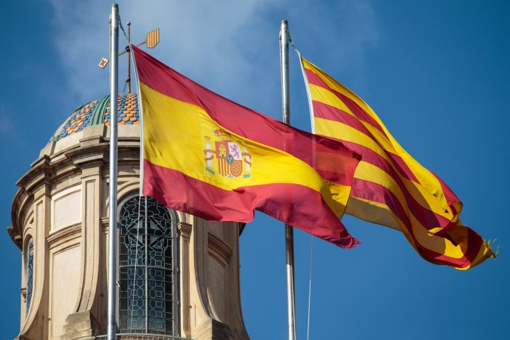 The Spanish and Catalan flags
