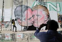 Donald Trump and Benjamin Netanyahu mural