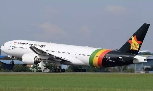 A plane in Zimbabwe Airways livery begins a test flight