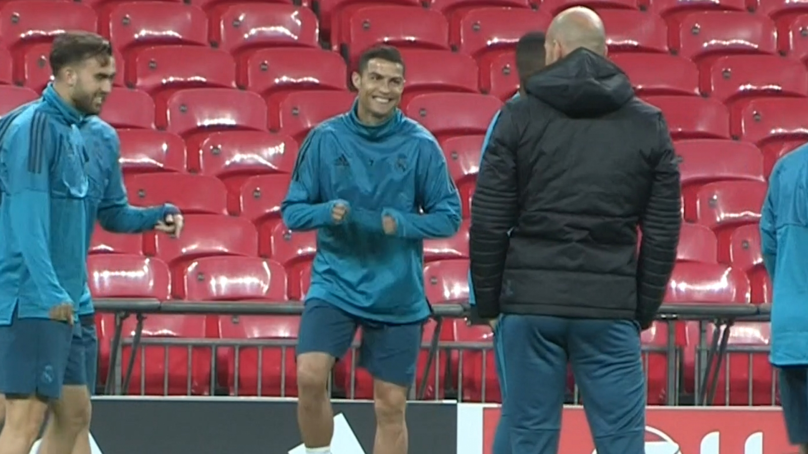 Cristiano Ronaldo Nutmegs Real Madrid Teammate In Training