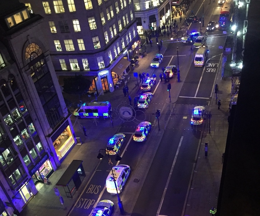 London taxi jumps curb and hits pedestrians, prompting mass panic