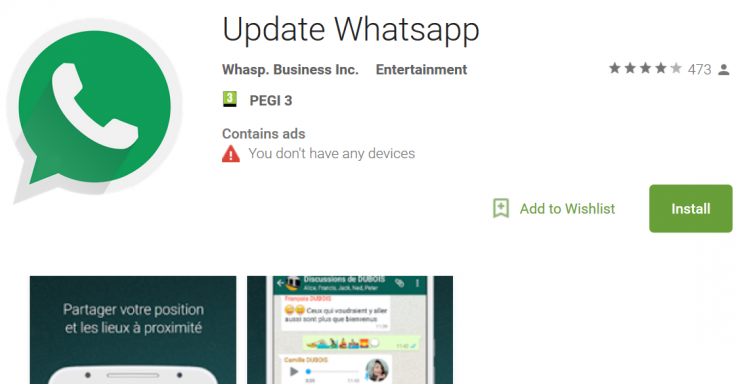 Fake WhatsApp app
