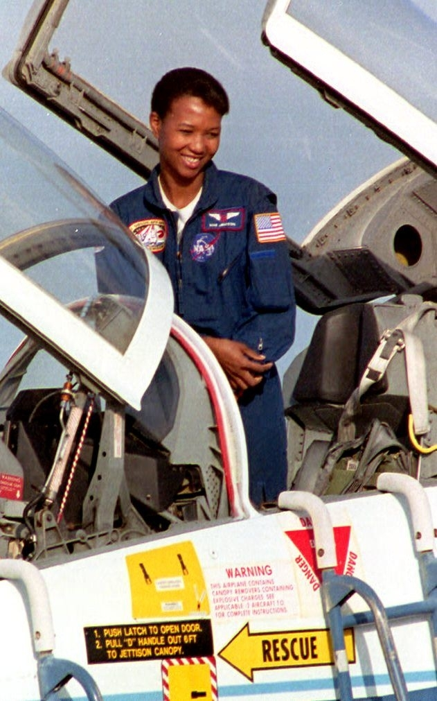 Science Mission Specialist Mae Jemison prepares to climb out of her T-38 training jet