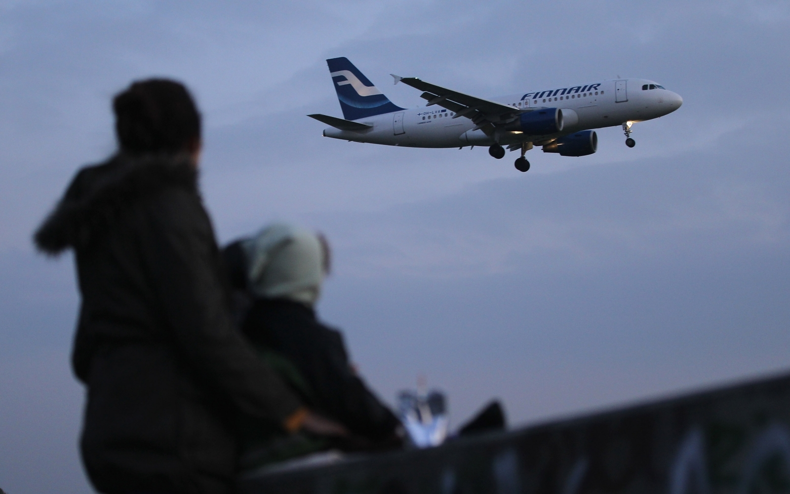 Arriving Finnair plane
