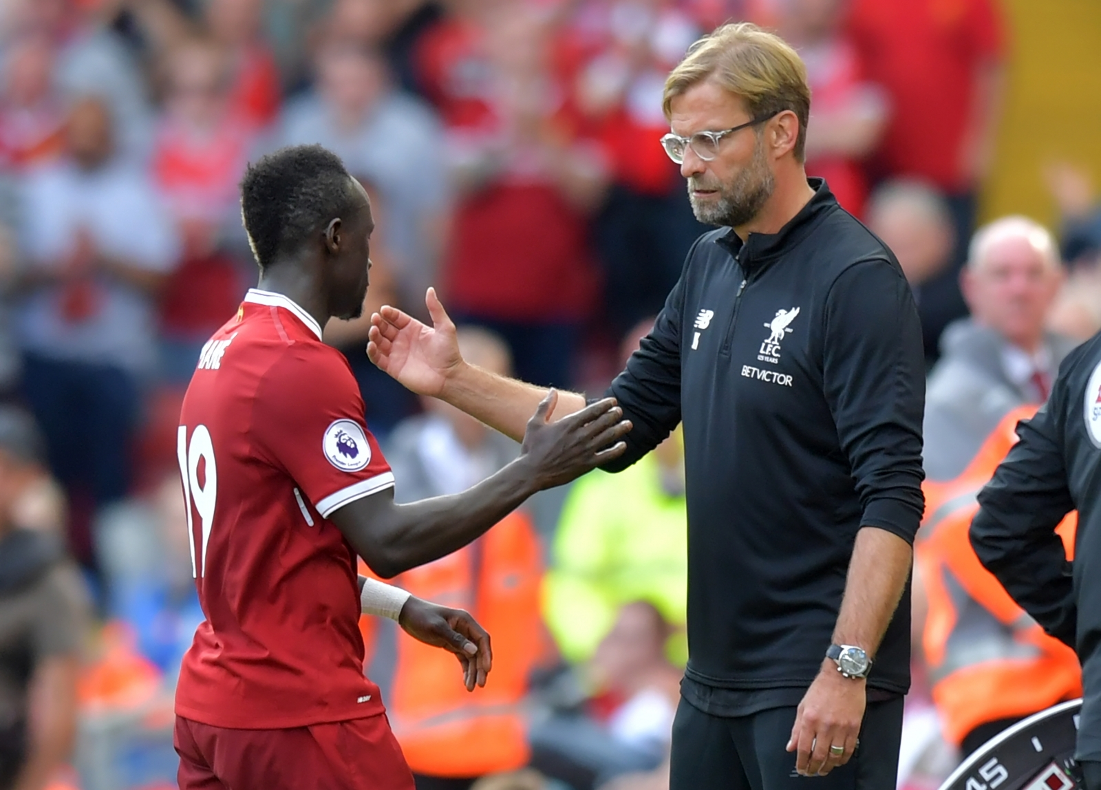Sadio Mane and Jurgen Klopp