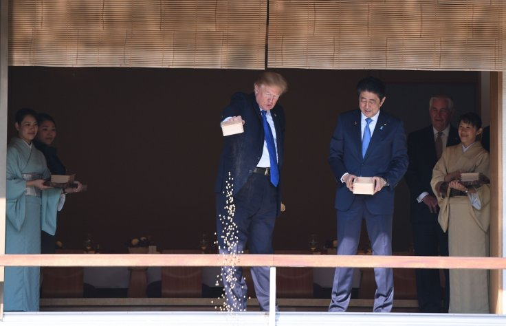donald trump shinzo abe koi fish