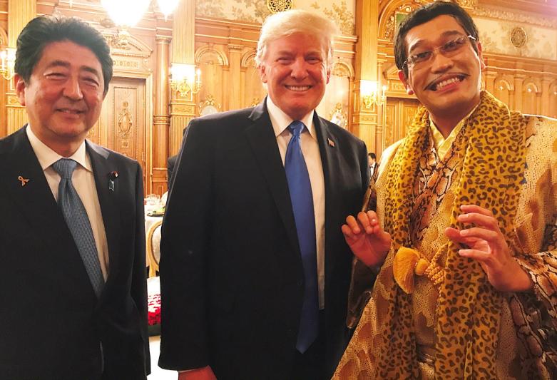 Shinzo Abe, Donald Trump and Pikotaro