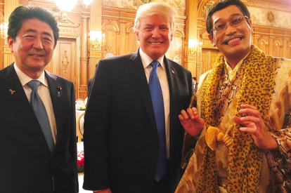 Shinzo Abe, Donald Trump and Pikotaro