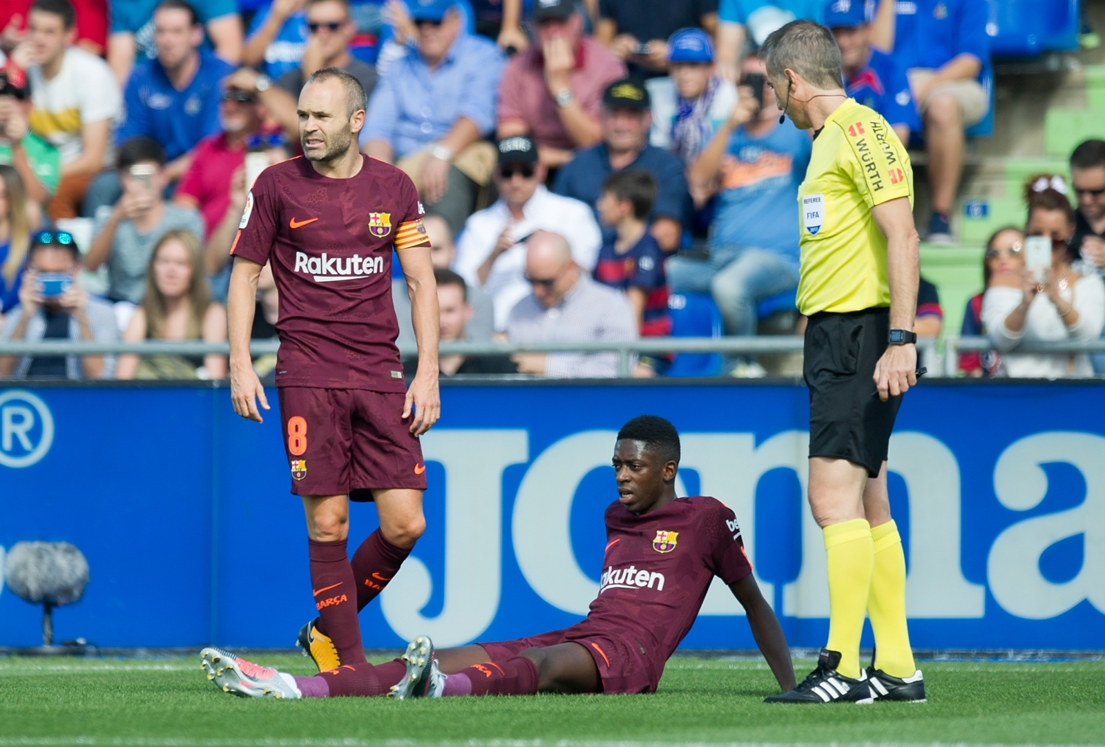 Andres Iniesta and Ousmane Dembele