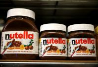 Jars of Nutella on a shelf