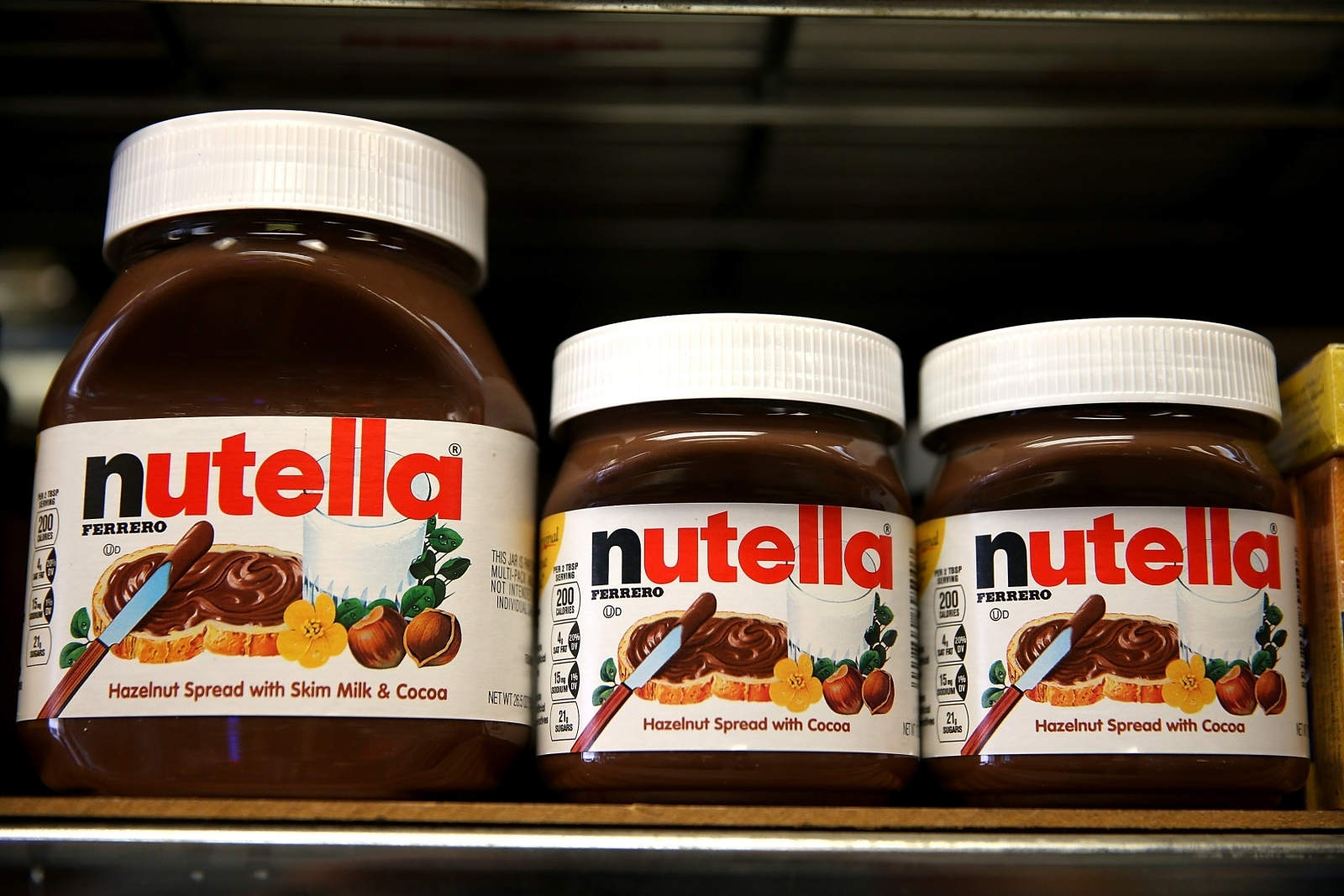 Jars of Nutella on a shelf