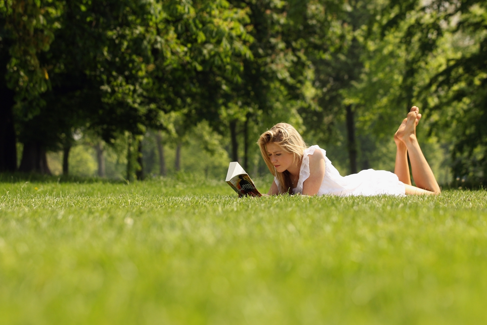 Woman reading a book in the sun