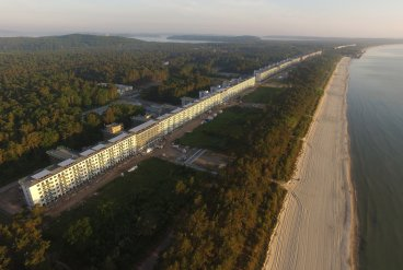 An aerial view blocks of the Prora resort on Rugen, which stretches along the beach for three miles