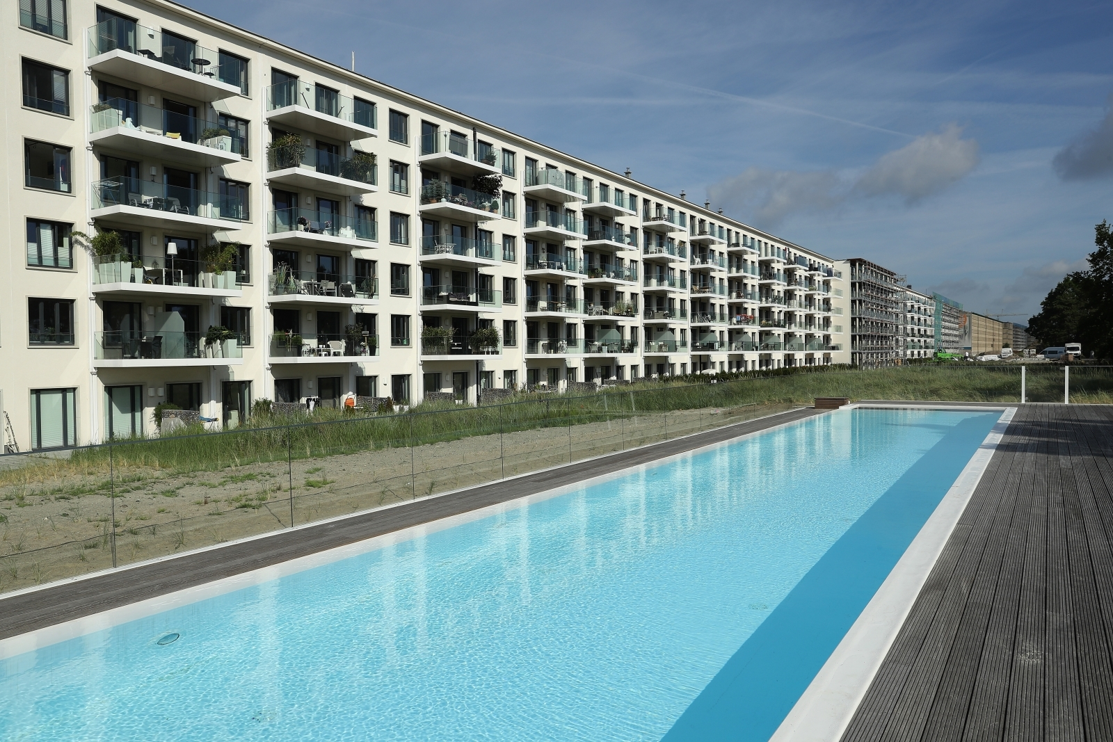 The Prora resort on Rugen houses upmarket airy apartments and huge swimming pools