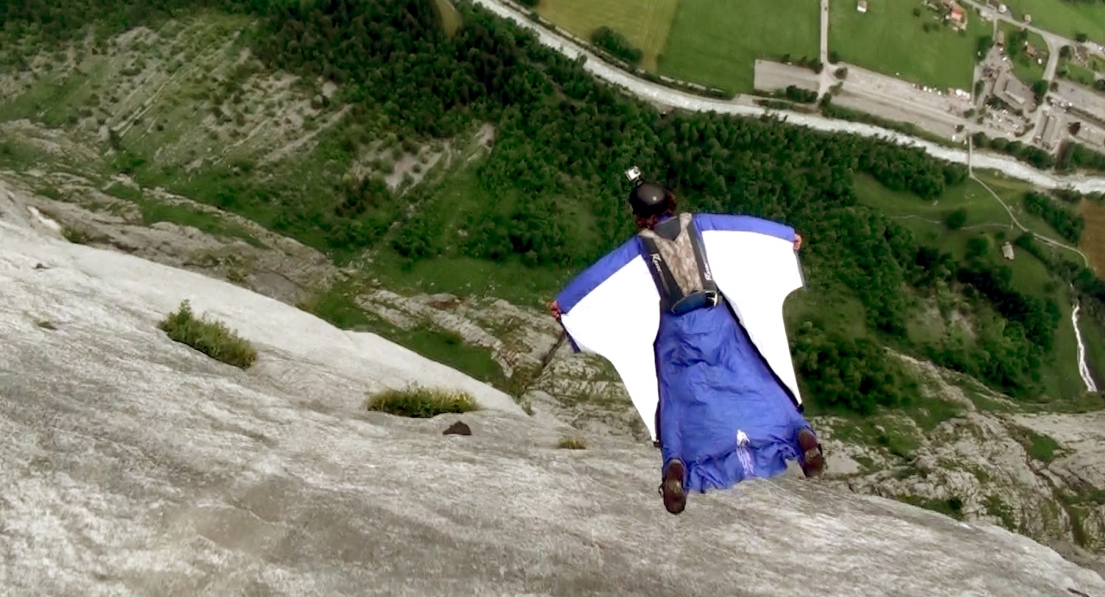 Alexander Polli base jumping in Lauterbrunnen, Switzerland