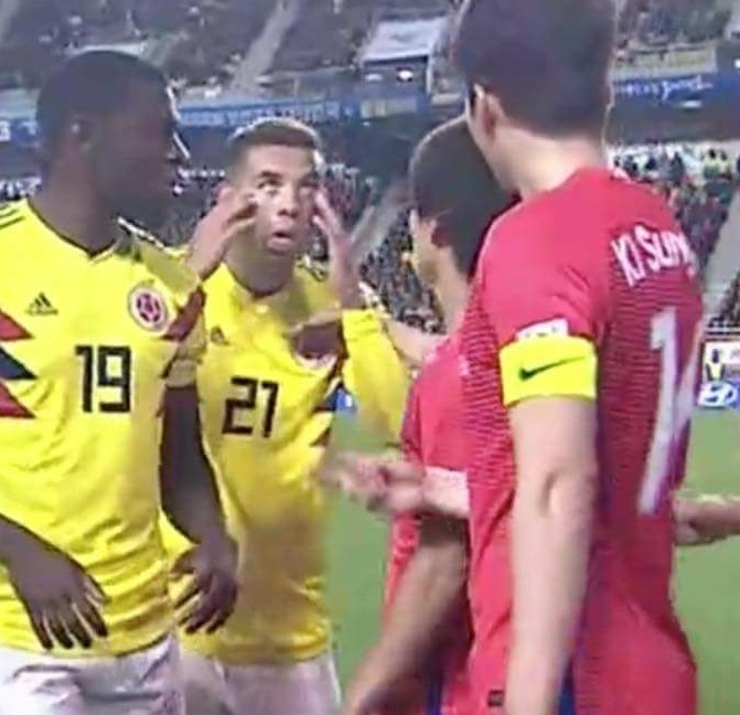Colombia's Edwin Cardona Makes Racist Slant-Eye Gesture Against South Korea