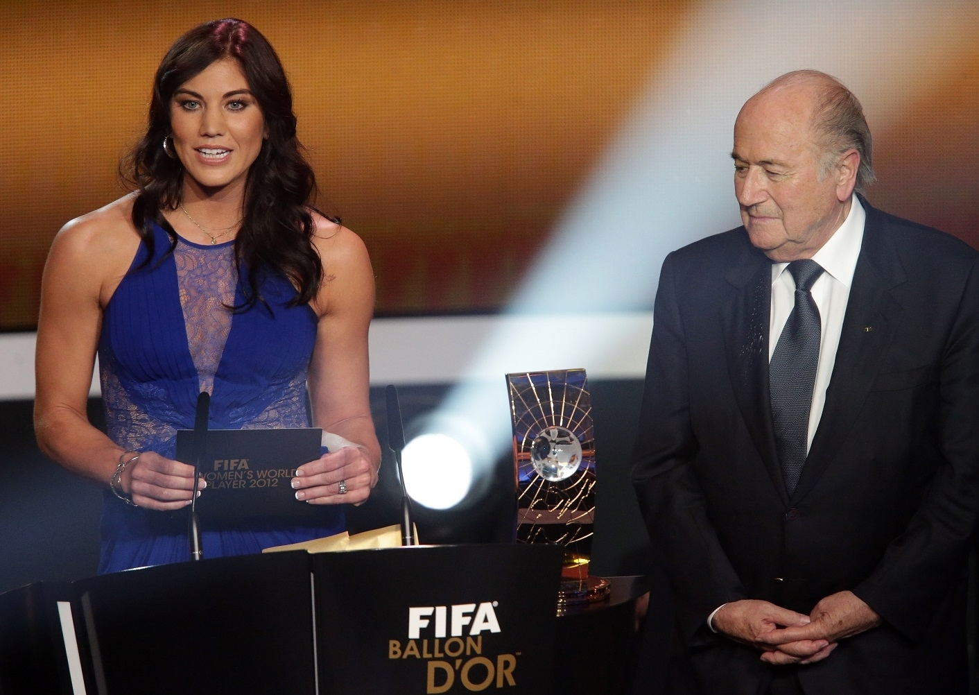 Hope Solo and Joseph Blatter