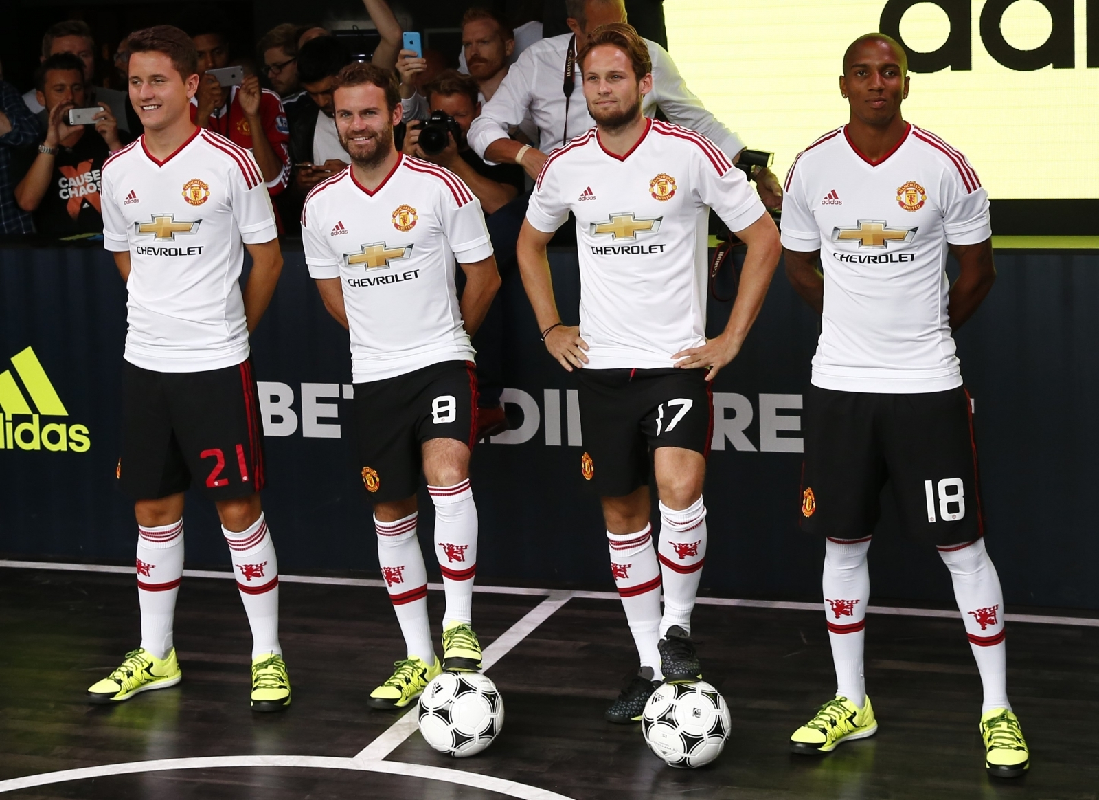 Ander Herrera, Juan Mata, Daley Blind and Ashley Young