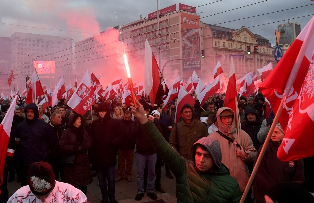 Demonstrators march on Poland's National Day