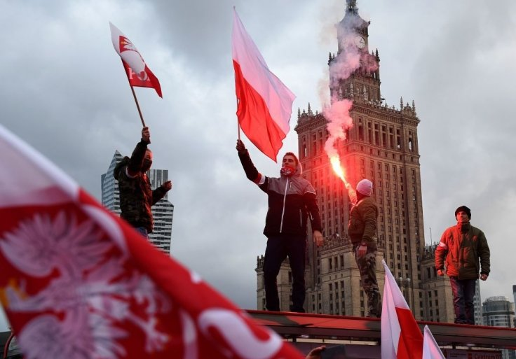 Protestors at 'white Europe' march in Poland
