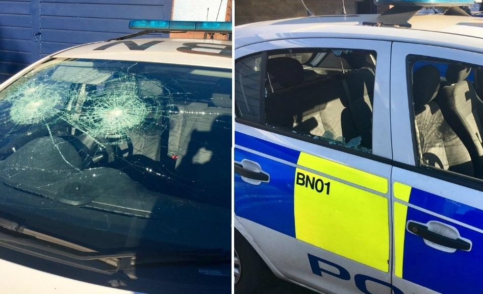 police car smashed