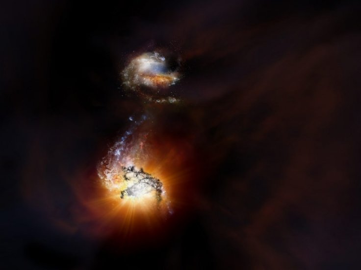 Artist impression of merging galaxies