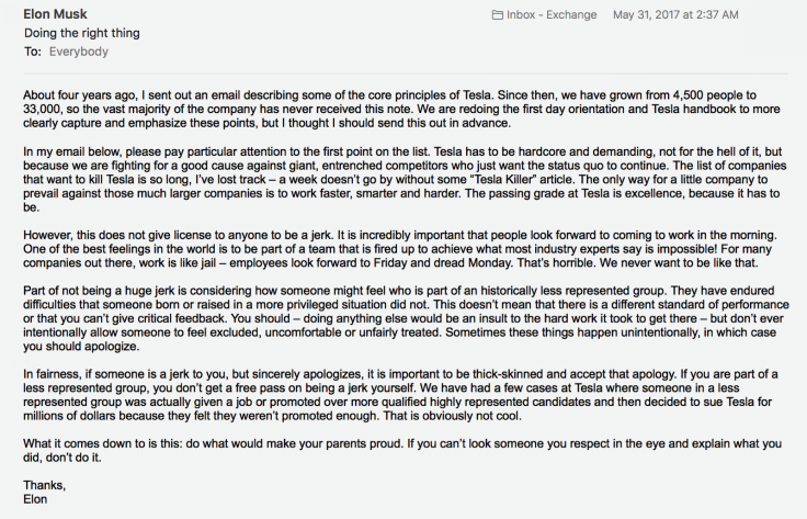 Elon Musk email to employees