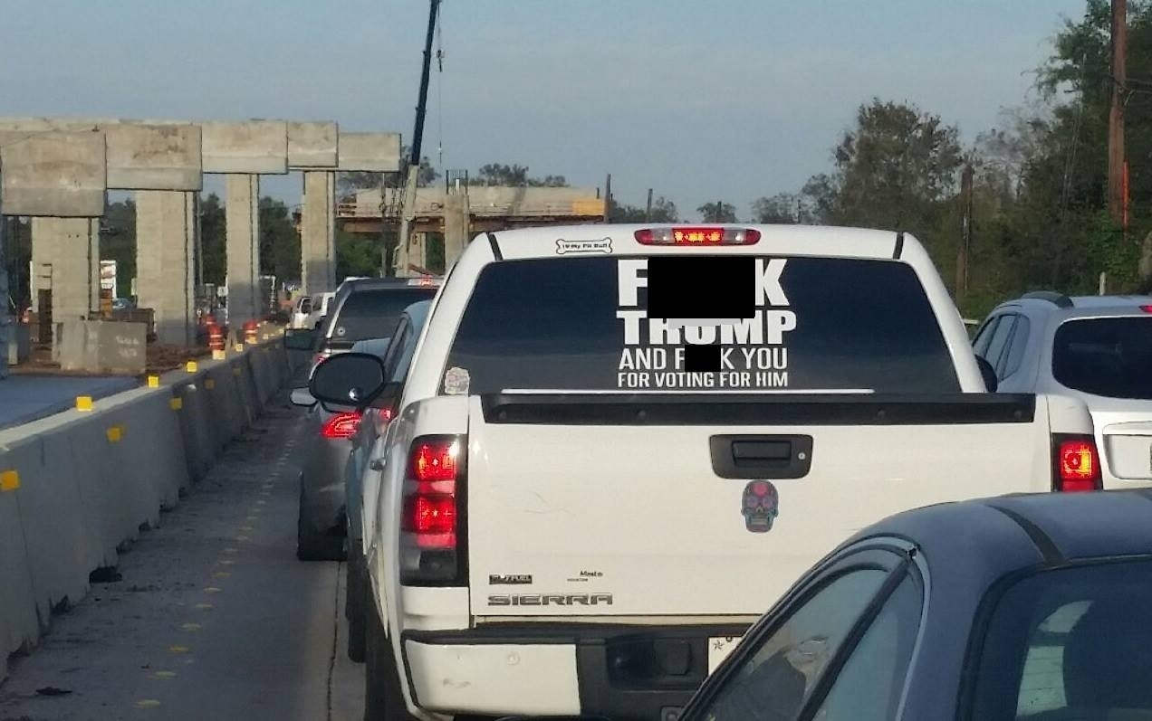 "Offensive ""F*** Trump"" car sticker"