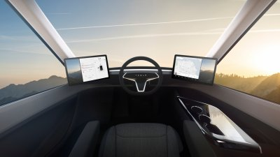 Tesla Semi centre seat view