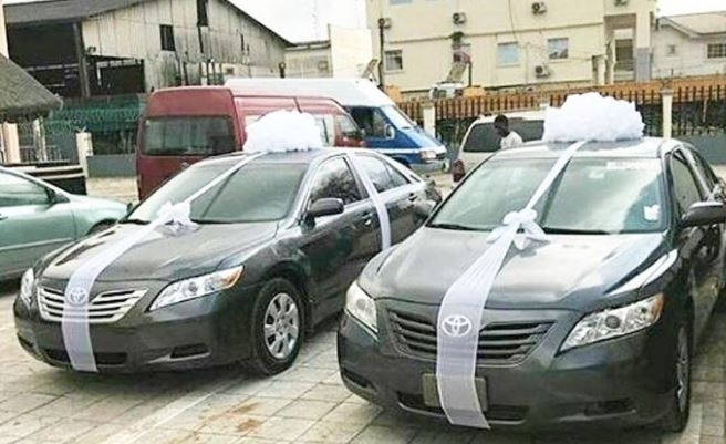 Brand new cars given away at wedding