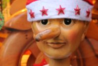 A wooden Pinocchio puppet