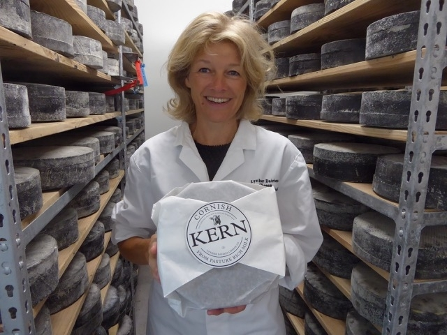 Owner Catherine Mead holds Cornish Kern, a cheese from Truro, which was crowned as the best in the world – beating off tough competition from Italy and Austria