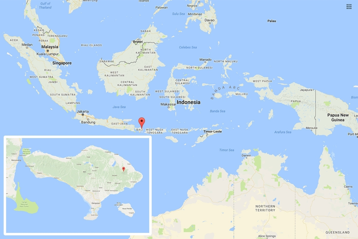 Map showing location of Mount Agung onBali,Indonesia