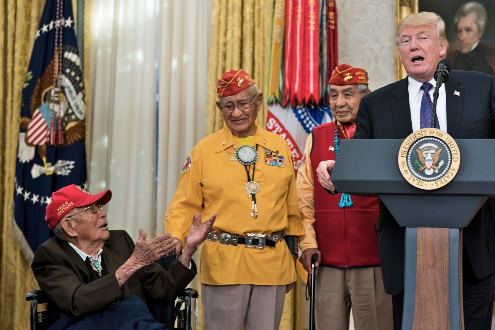 Donald Trump with Native American veterans