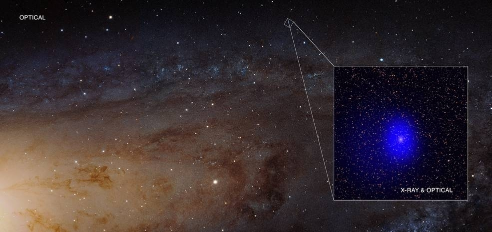 Supermassive black hole pair photobombs Andromeda