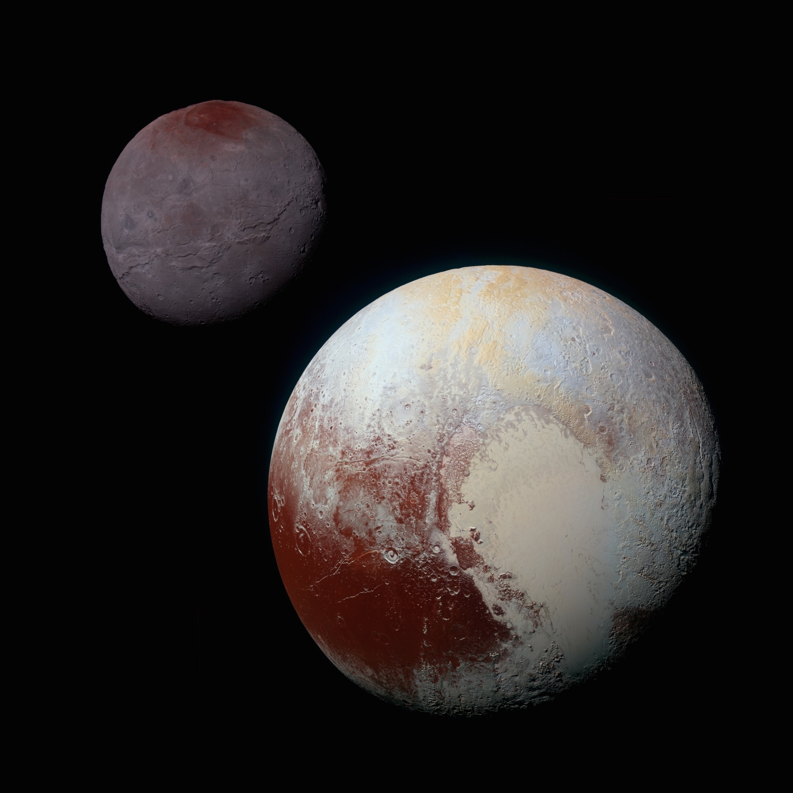 Pluto and its largest moon