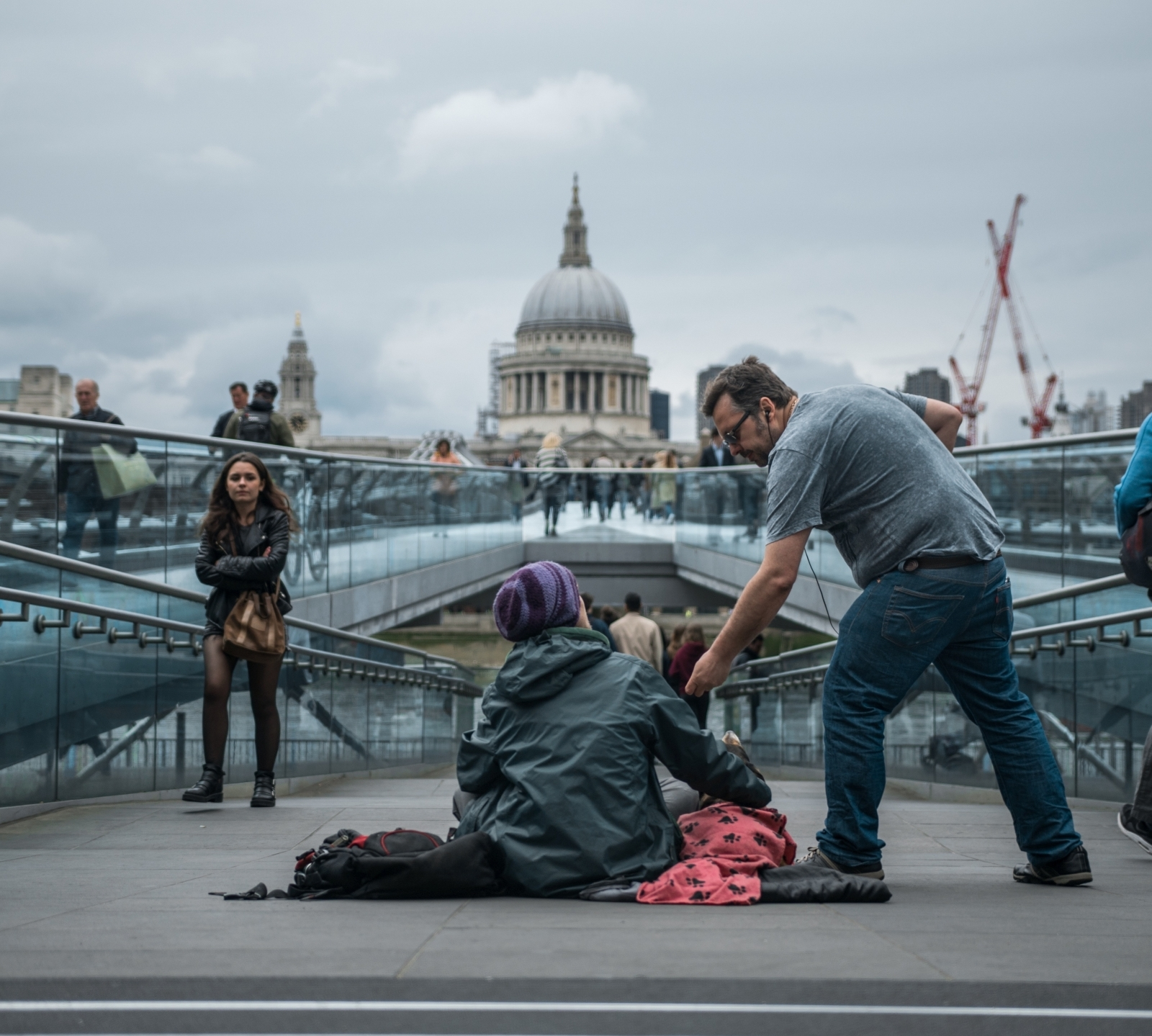 Homeless man on Millennium Bridge