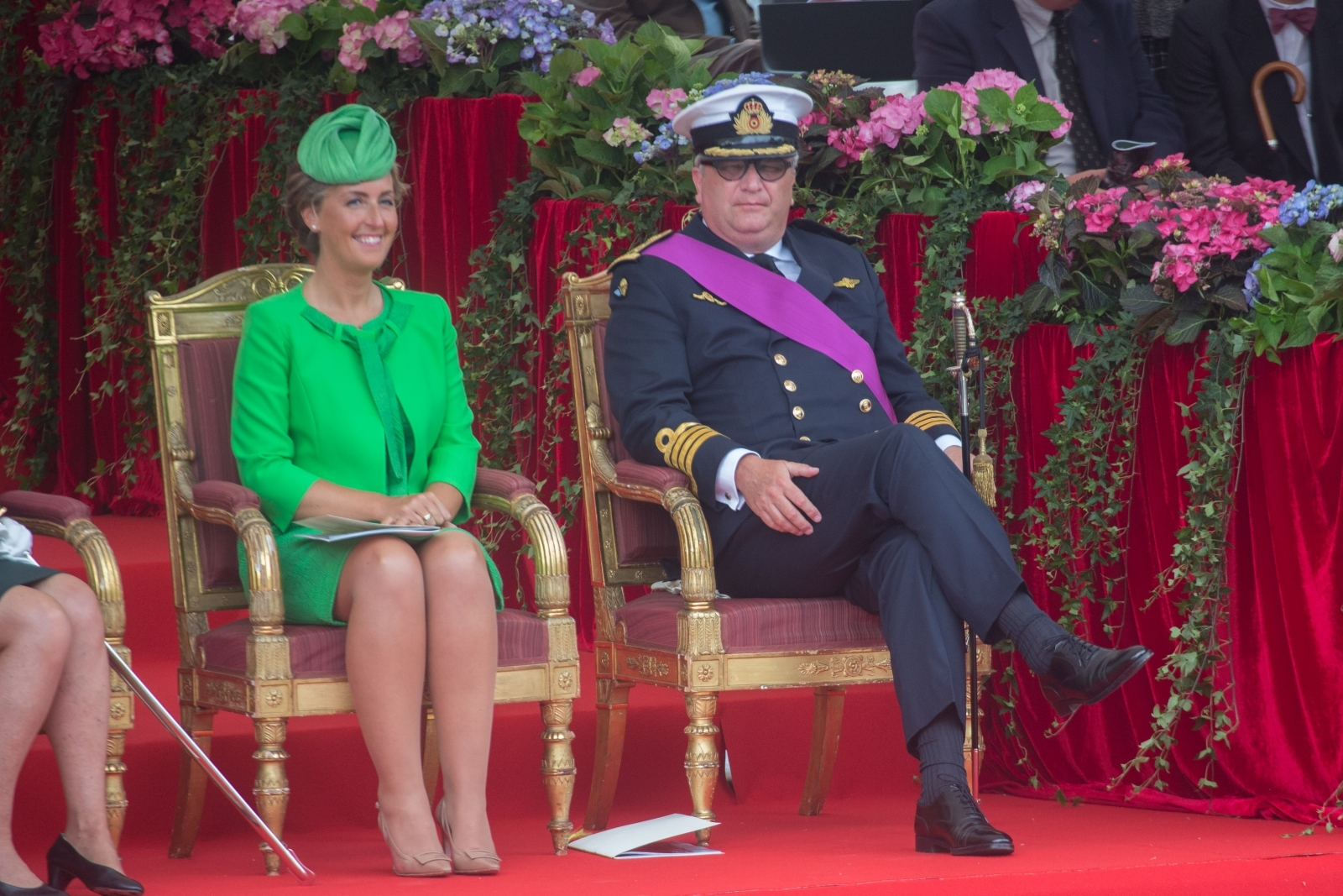Prince Laurent of Belgium (r) and his wife Princess Claire during a Parade on the country's National Day in Brussels