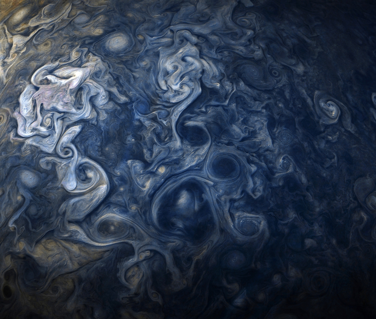 Jupiter blues: Nasa's Juno captures swirling Jovian clouds in jaw-dropping image