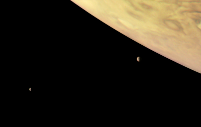 Jupiter and two of its largest moons