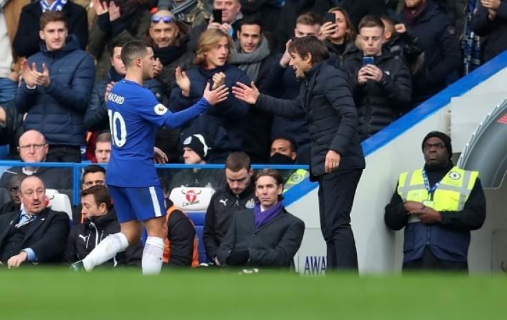Eden Hazard and Antonio Conte